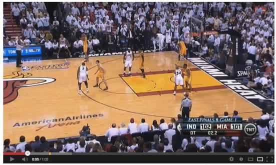 Esta es la posición inicial de Miami en el saque de banda.